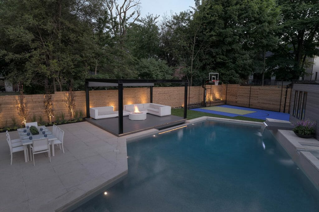 Abu, Full Backyard Landscape Design Project with Concrete Pool & Sports Court