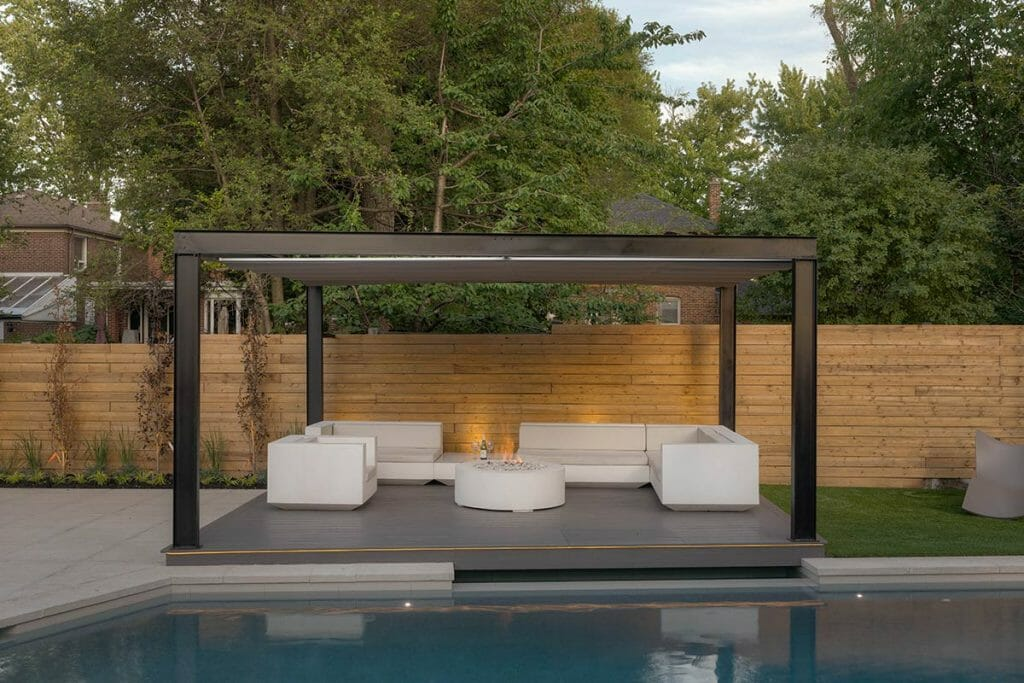 Abu Residence, Landscaping Project; Featuring Outdoor Fireplace & Concrete Pool