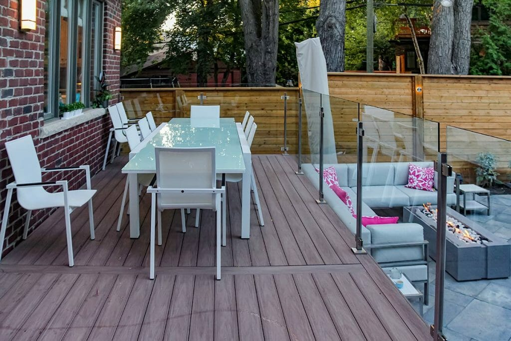 Azek Decking & Stainless Steel Glass Railings Project by Toronto Landscaping Contractors; M.E. Contracting.