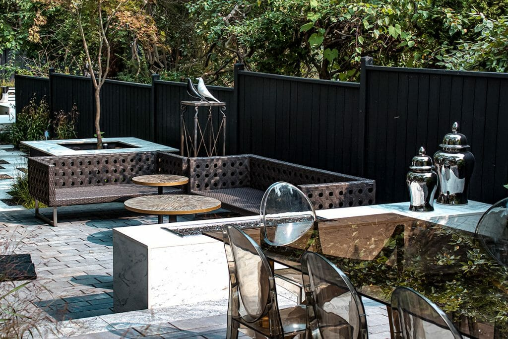 Full Backyard Marble Garden Landscape Design Project by Toronto Landscaping Company; M.E. Contracting.