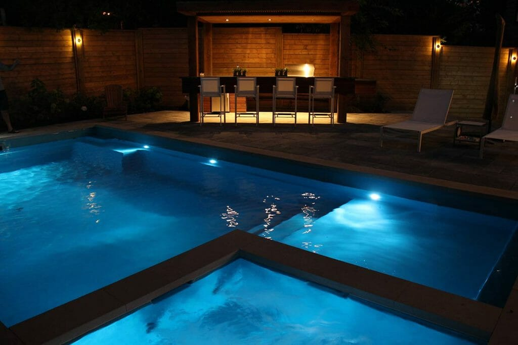 Toronto Backyard Landscape Design, Woodworking & Pool Installation Project; M.E. Contracting.