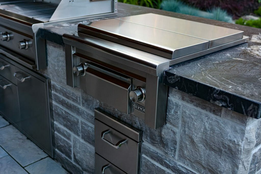 Brumwell, Toronto Landscaping Company Outdoor Kitchen with Marble Counter Top Project