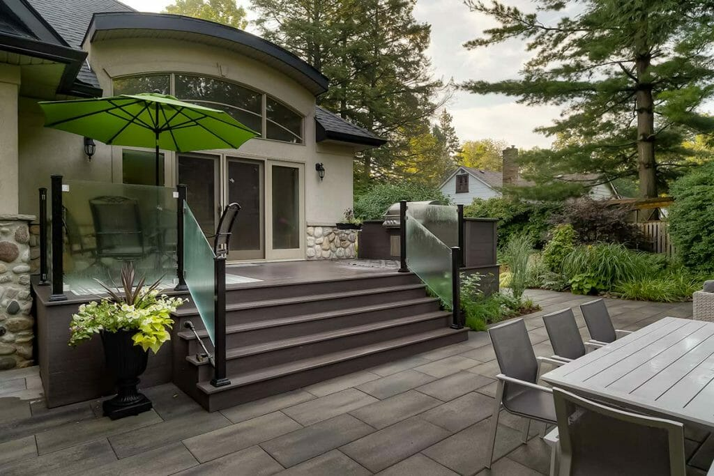 Chine Drive, Backyard Landscaping Project with Small Composite Deck Build, Aluminum Tempered Glass Railings