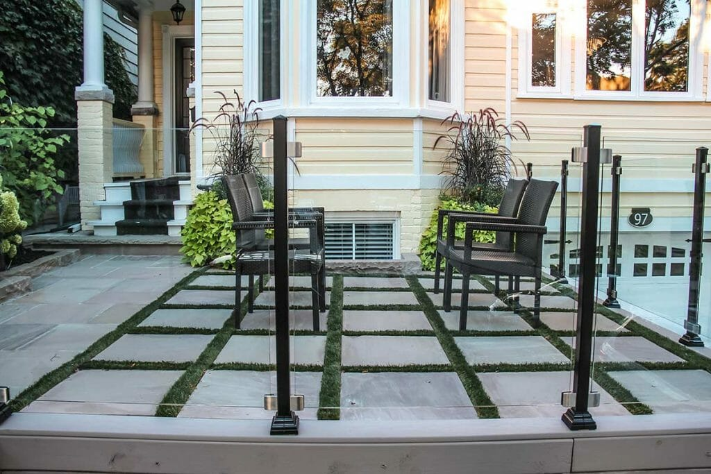 Toronto Front Yard Interlocking Project; Featuring Aluminum Glass Railings by M.E. Contracting.