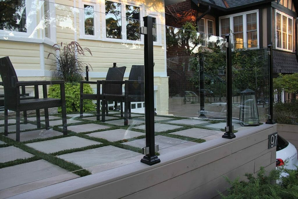 Toronto Property Front Yard Interlocking & Aluminum Glass Railings Project by Toronto Landscaping Contractors; M.E. Contracting.