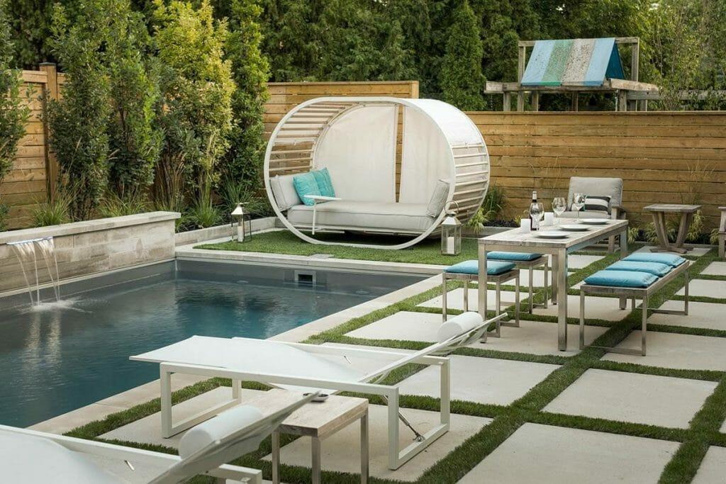 Close Up of Cabana & Fiberglass Pool Installation; Complete Backyard, Toronto Landscaping Company Project in Nortown Toronto