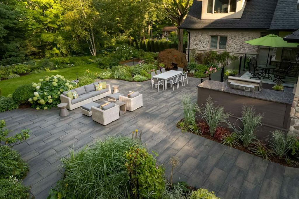 Complete Overview of Large Backyard Toronto Landscape Design Project by M.E. Contracting on Chine Drive