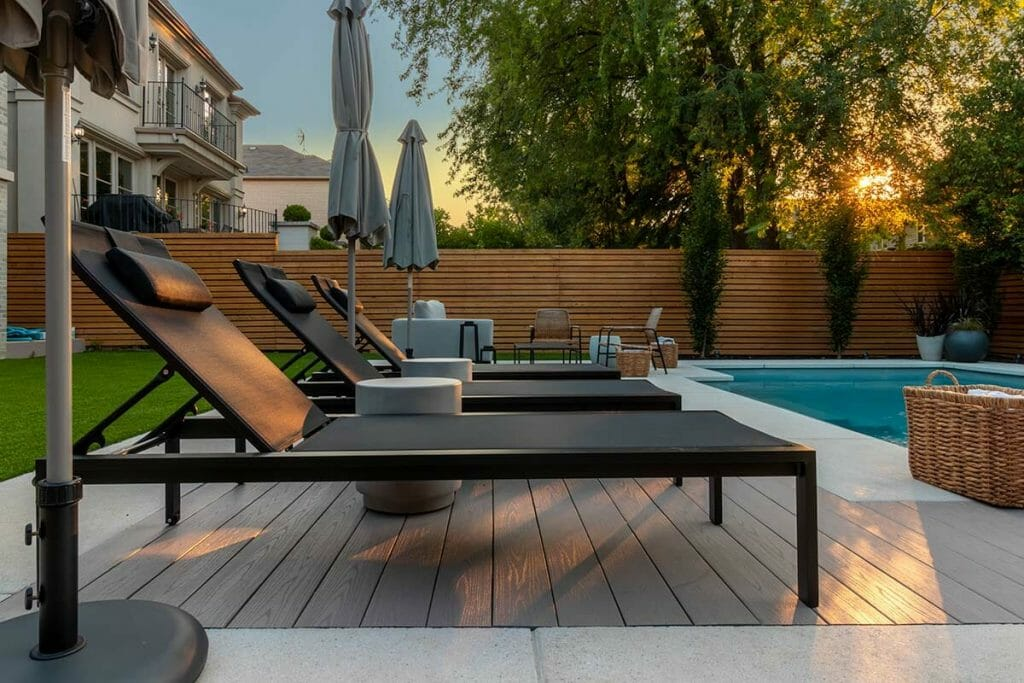 Complete Landscape Design with PVC Decking Material & Stone Interlocking, by M.E. Contracting.