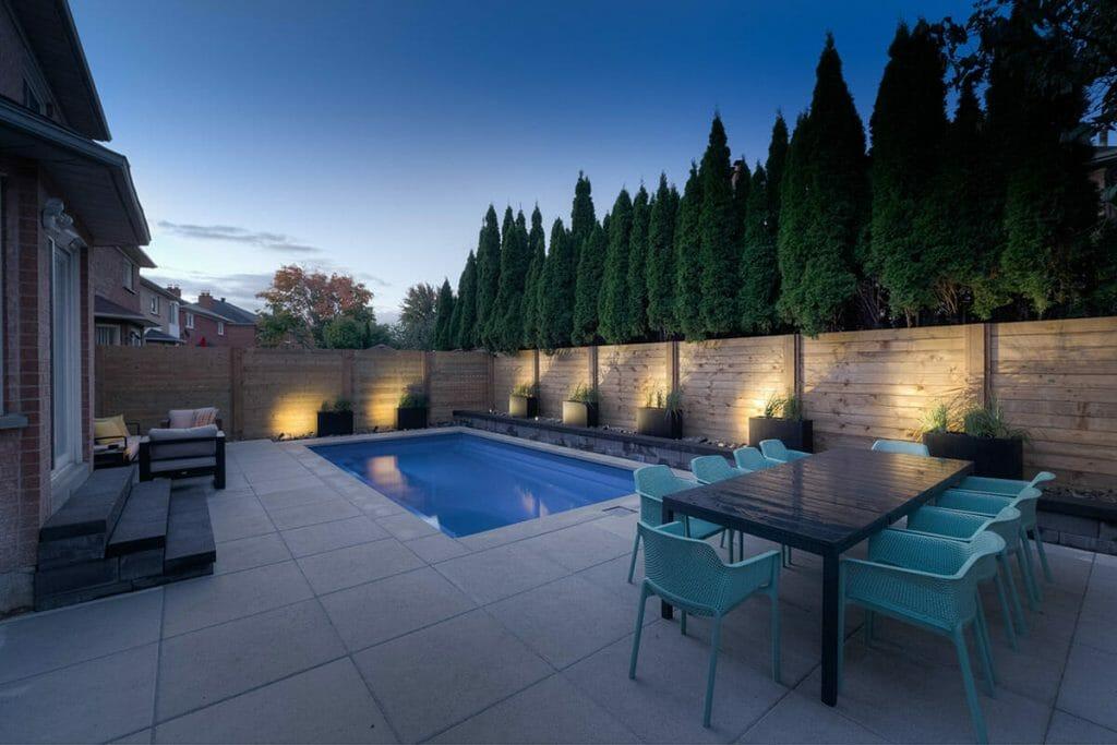 Complete Toronto Backyard Patio Design Project with Concrete Pool, Cedar Privacy Fence & Interlocking