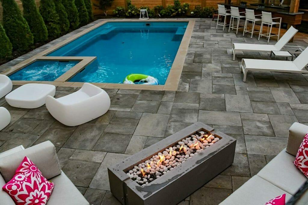 Complete Toronto Landscape Design, Interlocking & Pool Installation Project; M.E. Contracting, Toronto's Best Landscaping Design Company.