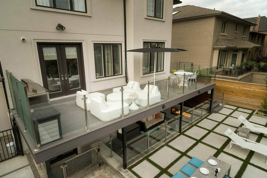 Complete Toronto Landscaping Project on Joicey Blvd; Featuring TREX Decking with Stainless Steel & Glass Railings