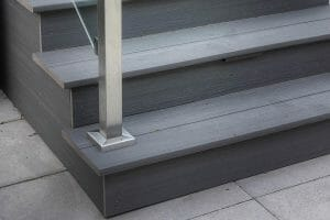 Deck Building Project by Toronto Landscaping Company; Featuring Composite Deck, Stainless Steel Glass Railing & Interlocking.