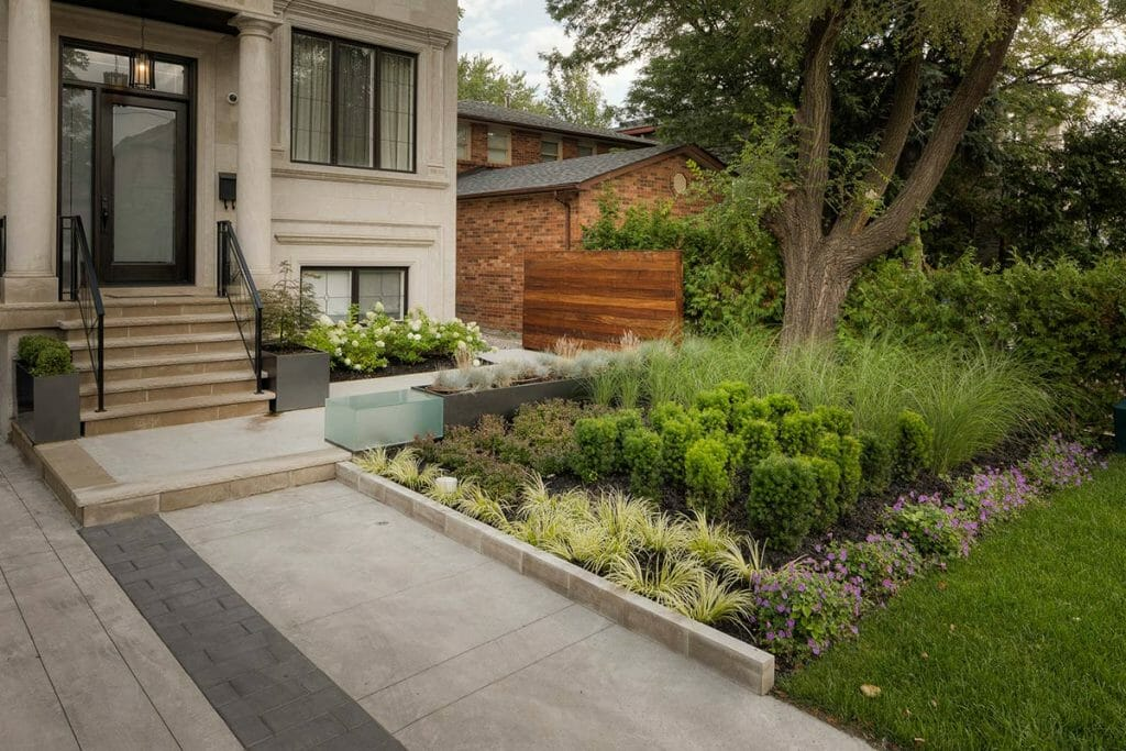 Front Yard Interlocking & Woodworking on Complete Landscaping Design Project in Nortown Toronto