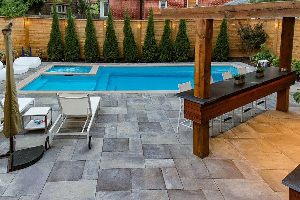 Full Toronto Landscape Design & Pool Installation with Woodworking Project; M.E. Contracting.
