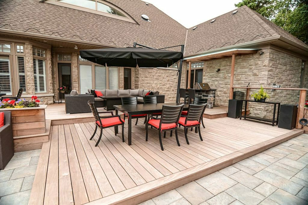 IPE Decking & Interlocking Project, by Toronto Landscaping Company, M.E. Contracting.