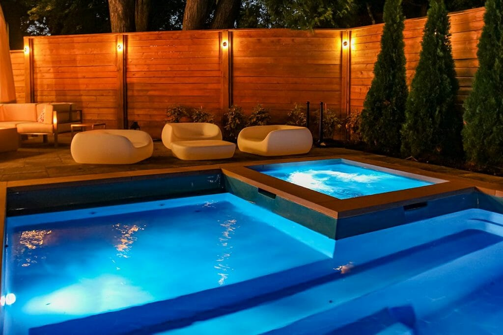 Landscape Design, Privacy Fence, Pool Installation & Pool Deck Interlocking by M.E. Contracting.