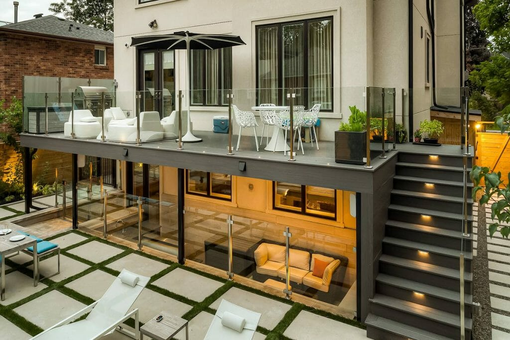 Joicey Blvd, Toronto Landscaping Project; Featuring TREX Decking with Stainless Steel Glass Railings, Outdoor Kitchen, Interlocking & Privacy Fencing