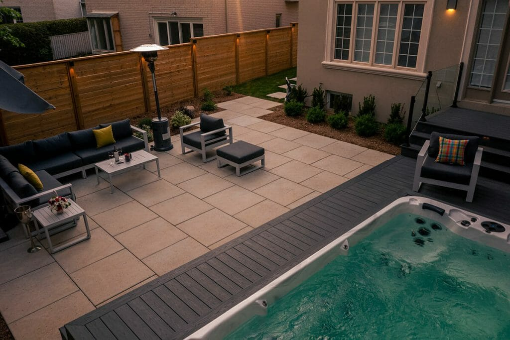 Landscaping Project by M.E. Contracting; Featuring Interlocking, Swim Spa, PVC Decking with Stairs, Glass & Aluminum Railings