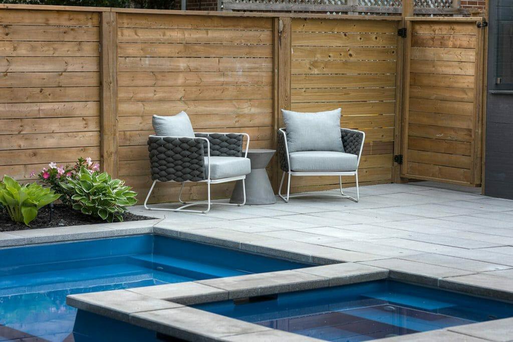 Lyonsgate Toronto Landscape Design; Featuring Fiberglass Pool, Interlocking & Privacy Fence