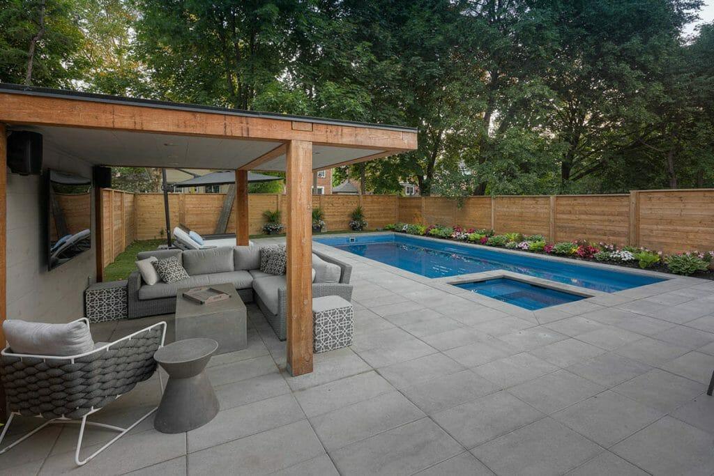 Lyonsgate Toronto Landscape Project with Woodworking Gazebo, Fiberglass Pool Installation