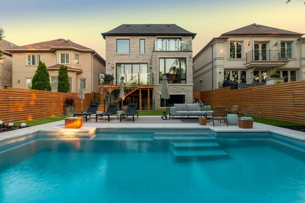M.E. Contracting Landscaping Project for Toronto Home; Featuring, Pool Deck Interlocking, Fiberglass Pool Installation & Patio Design