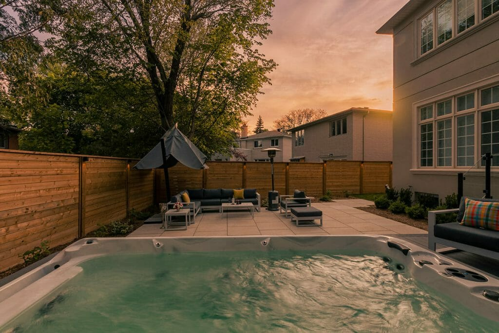 M.E. Contracting, Toronto Landscaping Project; Featuring, Spa Pool Installation, Decking & Fencing, Interlocking & Patio Design