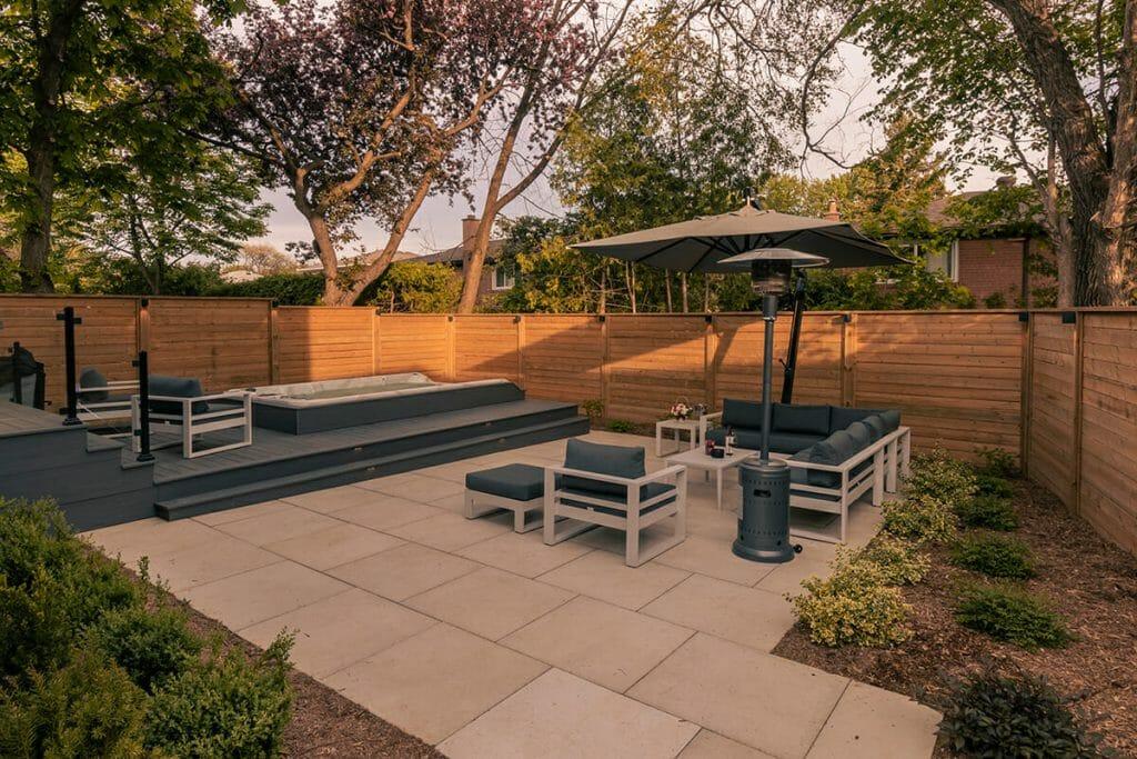 M.E. Contracting, Toronto Premium Landscaping Project; Featuring PVC Deck Construction, Interlocking, Fencing, Spa Pool Installation, Patio Design, Glass & Aluminum Railings