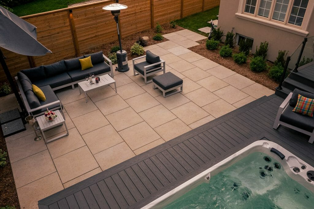 M.E. Contracting, Torontos Premium Landscaping Company Project; Feeaturing PVC Decking, Glass and Aluminum Railings, Spa Pool, & Interlocking