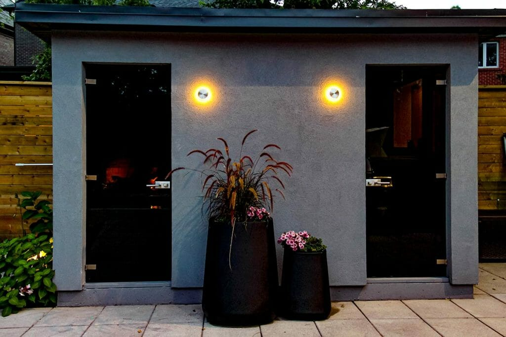 Outdoor Pool House Feature; Toronto Landscaping Company Project