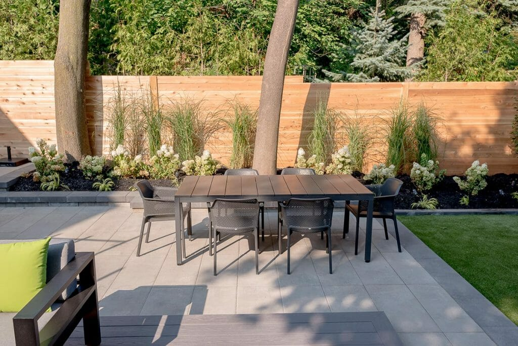 Patio Design Project by Toronto Landscaping Company; Featuring Cedar Privacy Fence & Interlocking