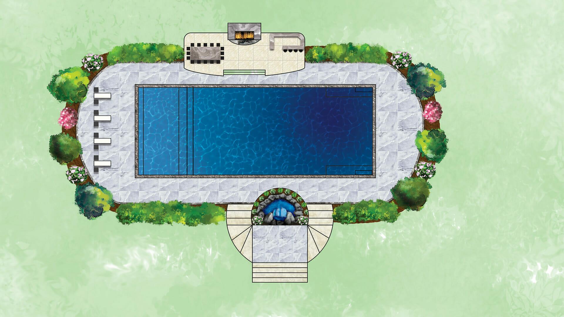 3D artists rendering of Pinnacle Fibreglass pool by Leisure Pools