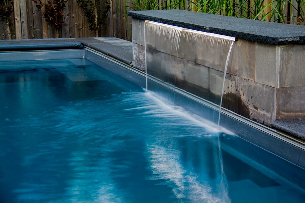 Fiberglass Reflection Pool with Water Feature Installation Project by M.E. Contracting.
