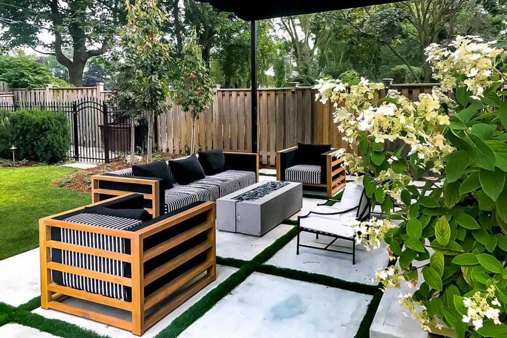 Ridley Residence, Toronto Landscaping Project with Interlocking Back Patio & Outdoor Fireplace