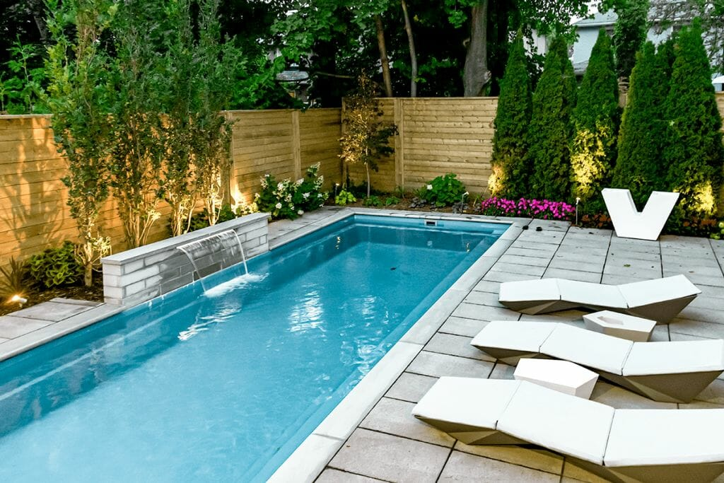 Sekler Residence, Toronto Backyard Landscaping Project - Featuring Fiberglass Pool with Water Feature, Interlocking & Cedar Privacy Fence