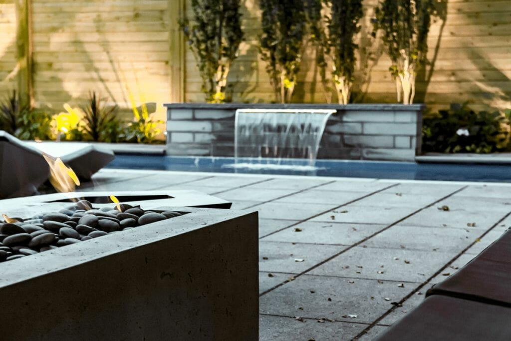 Sekler Residence; Toronto Landscaping Project, Fiberglass Pool Installation with Water Feature_