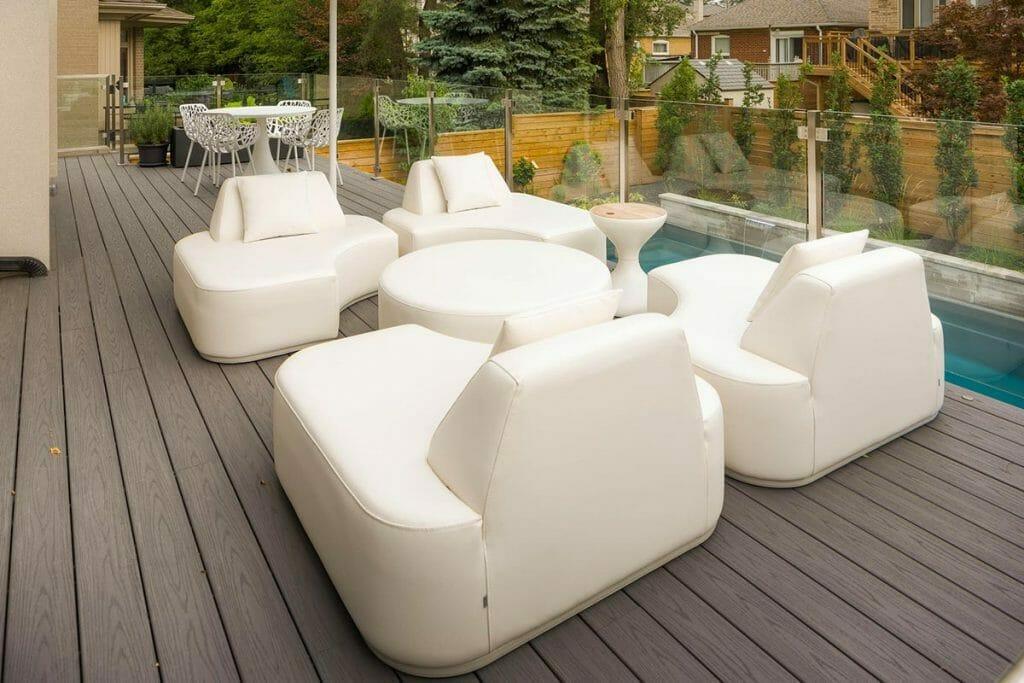 Toronto TREX Deck Builders Project; Featuring  TREX Deck, Fiberglass Pool, Glass & Stainless Steel Railings.