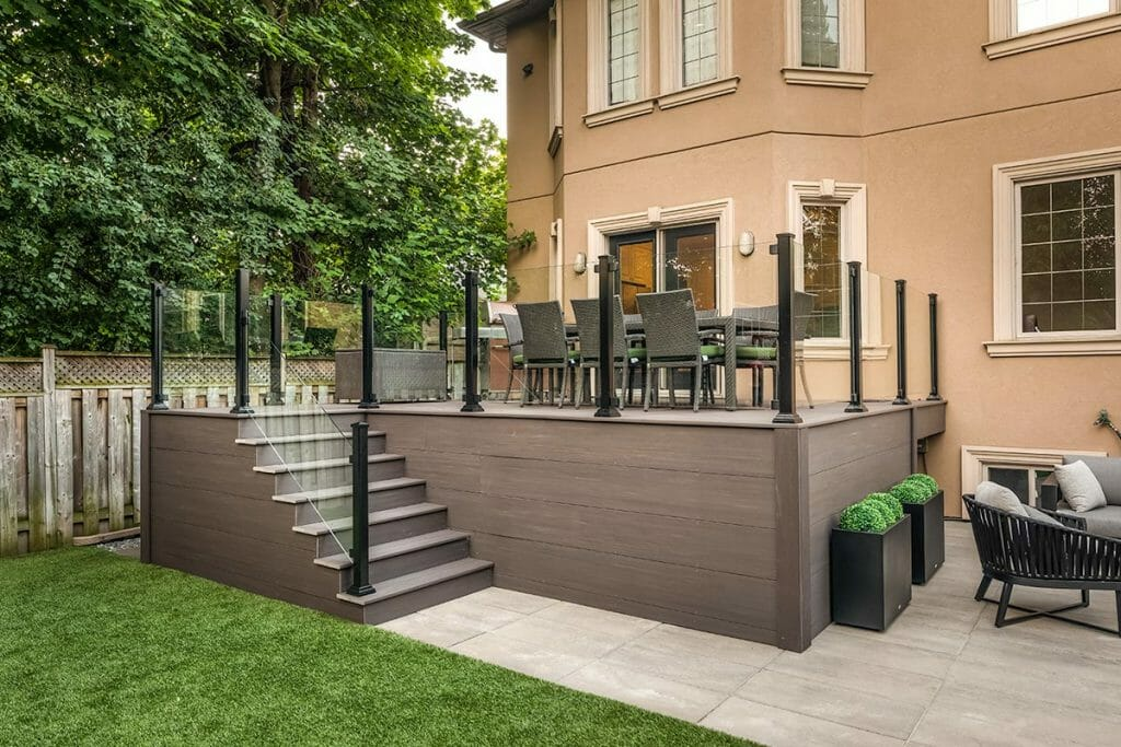 Toronto Decking Project by M.E. Contracting; Featuring Azek Deck, Interlocking, Aluminum & Glass Railings.