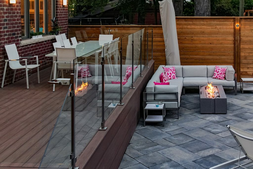 Toronto Decking, Railings & Interlocking Project; Featuring Azek Decks, Stainless Steel Railings, Interlocking & Outdoor Fireplace by M.E. Contracting.