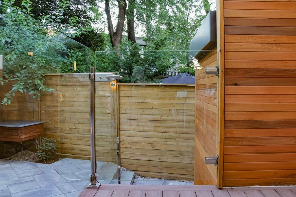 Toronto Decking, Fencing Project; Featuring Cedar Woodworking, Privacy Fence, Stainless Steel & Glass Railings by M.E. Contracting.