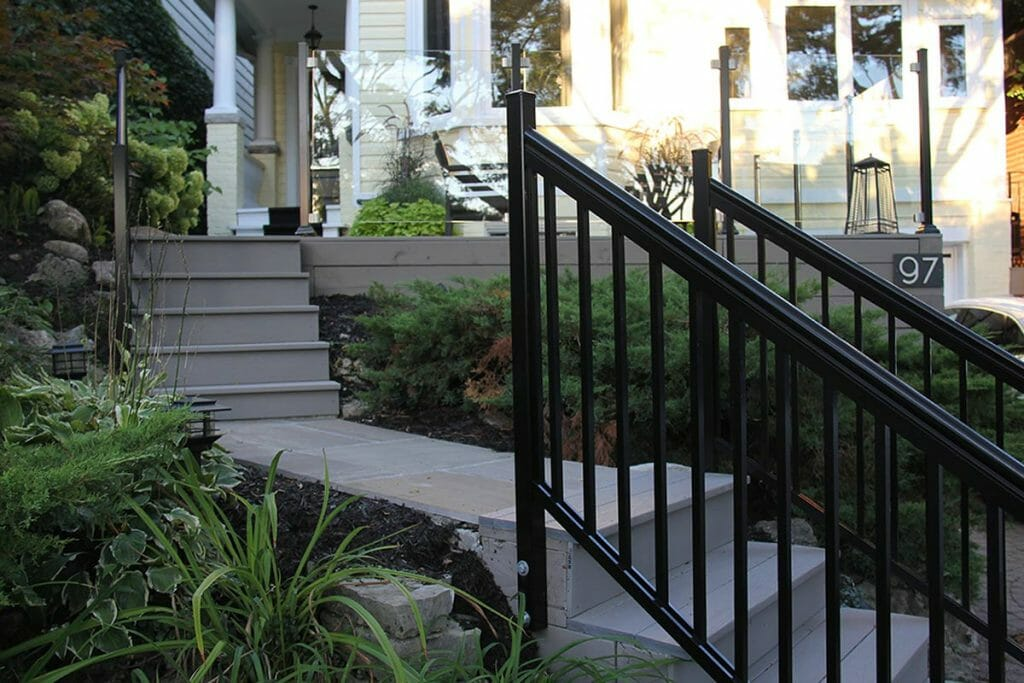 Front Yard Interlocking & Railings Project by M.E. Contracting.