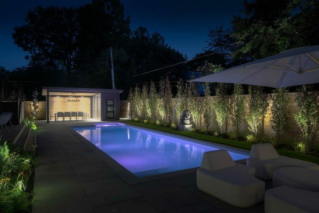 Toronto Landscape Design with Concrete Pool Installation & Lighting Features; Interlocking, Privacy Fence, Gazebo