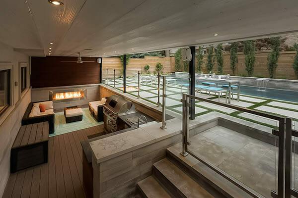 Toronto Landscaping Design, Deck & Fiberglass Pool Construction, Outdoor Kitchen & Fireplace Project - Joicey Blvd.