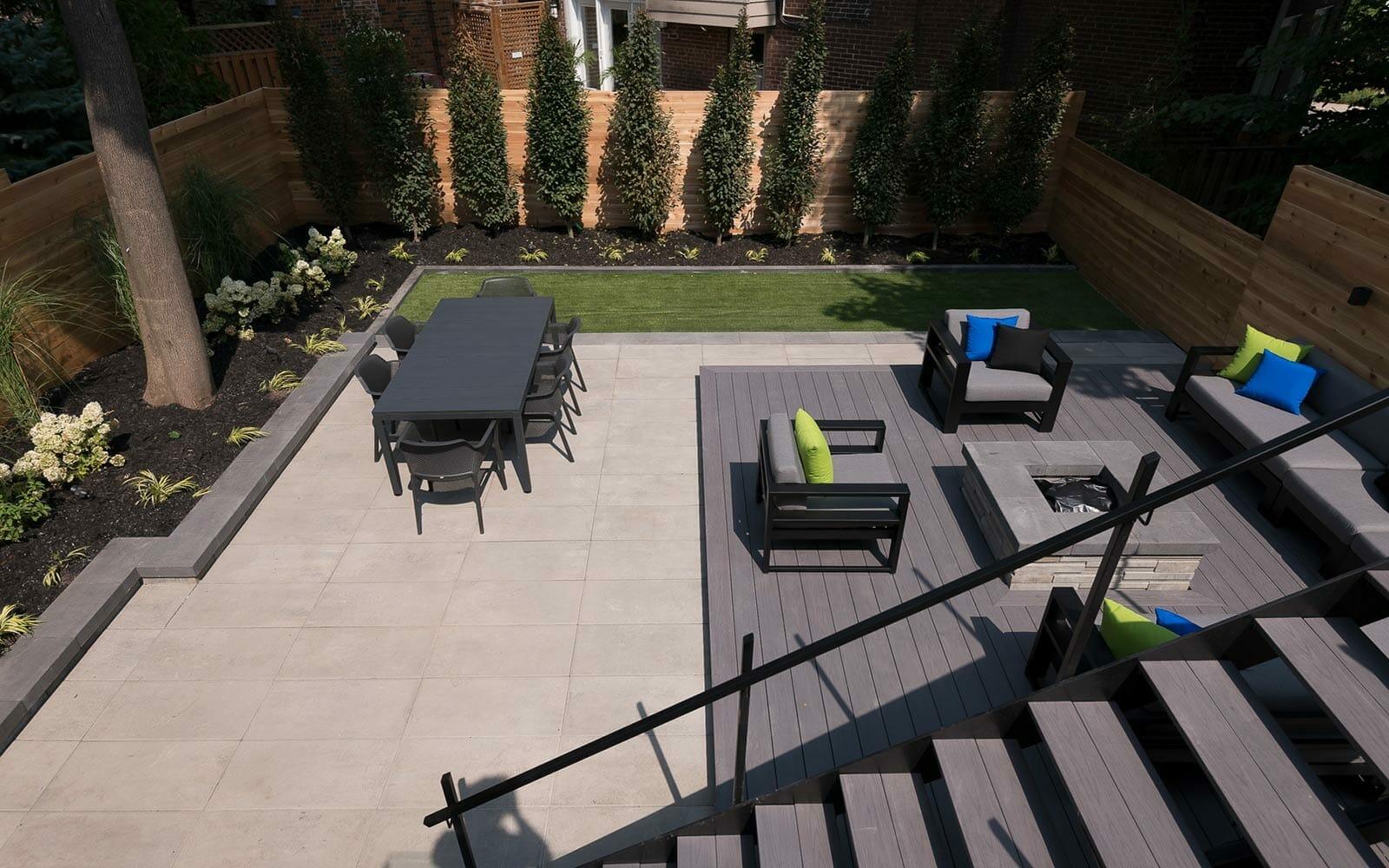 Toronto Landscaping & Decking Company - Patio Design; Featuring Custom Deck & Fence Building, Aluminum Railings, Retaining Walls, Landscaping Design & Interlocking.