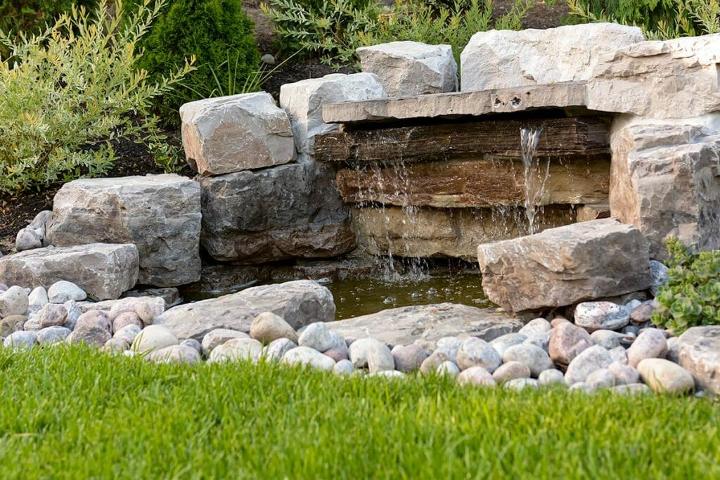 Toronto Landscaping Design Project with Outdoor Waterfall Feature
