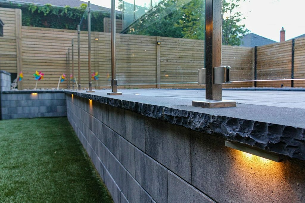 Toronto Landscaping Project; Featuring Interlocking, Retaining Walls, Stainless Steel & Glass Railings