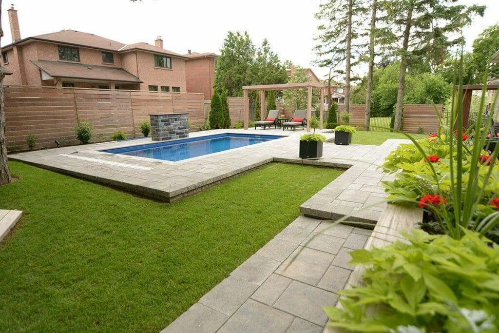 Toronto Landscaping Company Interlocking & Landscape Design, Fiberglass Pool Project by M.E. Contracting.