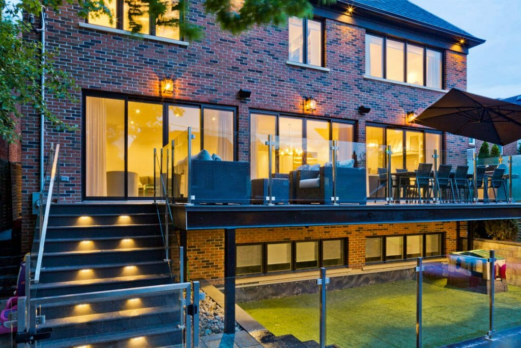 Toronto Landscaping Project; Featuring Stainless Steel & Glass Railings, PVC Decking