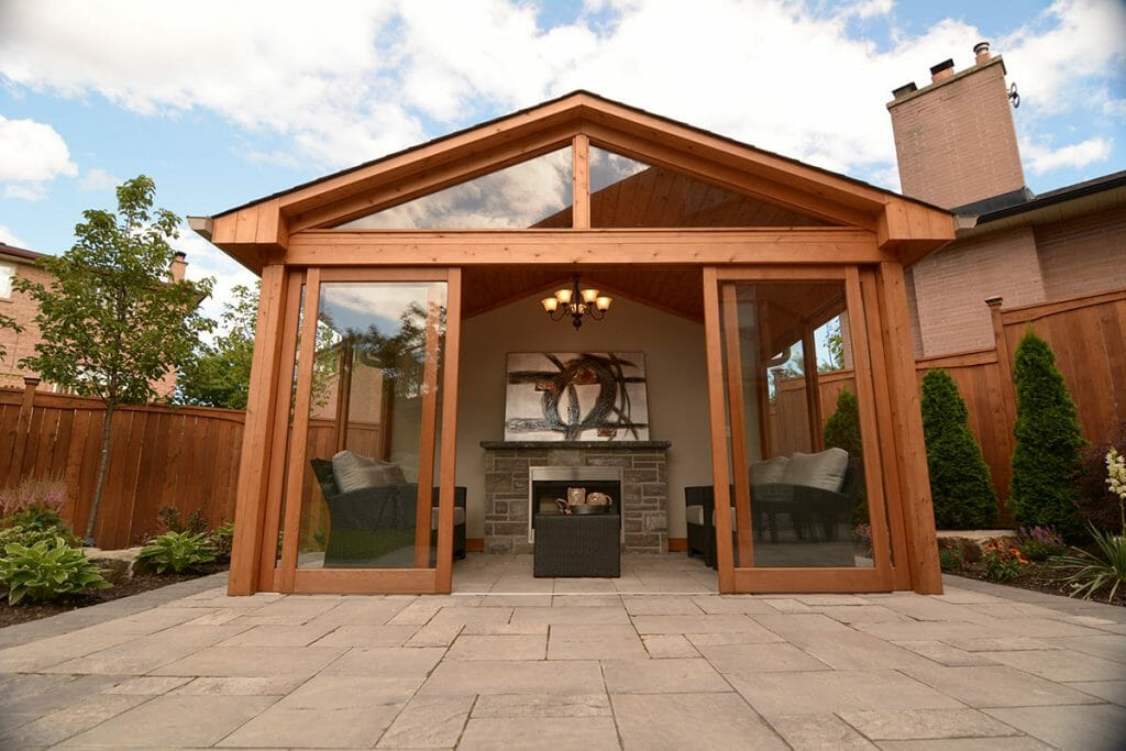 Toronto Landscaping Project; Featuring Woodworking Gazebo, Cedar Privacy Fence & Interlocking