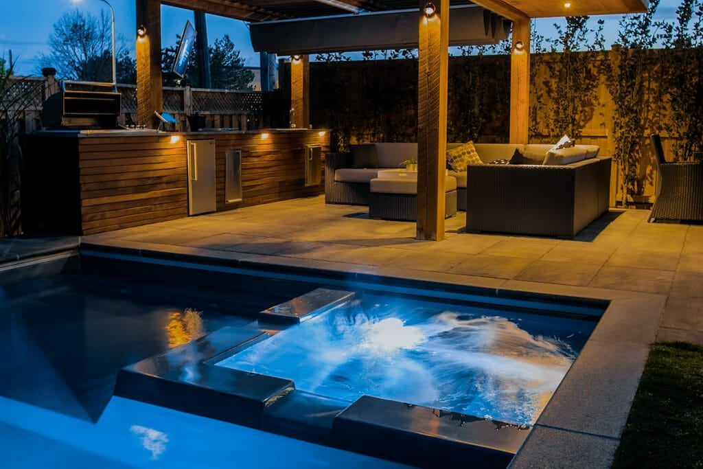 Toronto Landscaping & Woodworking Project with Pergola, Outdoor Kitchen & Fiberglass Pool; M.E. Contracting.