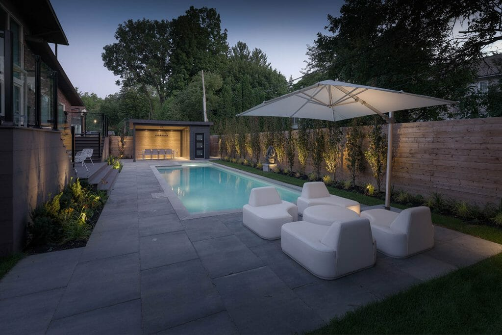 Toronto Landscaping Project, Night View; Featuring Concrete Pool with Illuminating Feature